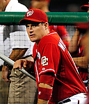 22 August 2009: Washington Nationals' outfielder Josh Willingham stands in the dugout during a game against the Milwaukee Brewers at Nationals Park in Washington, DC. The Nationals fell to the Brewers 11-9 in the second game of their four-game series. Mandatory Credit: Ed Wolfstein Photo