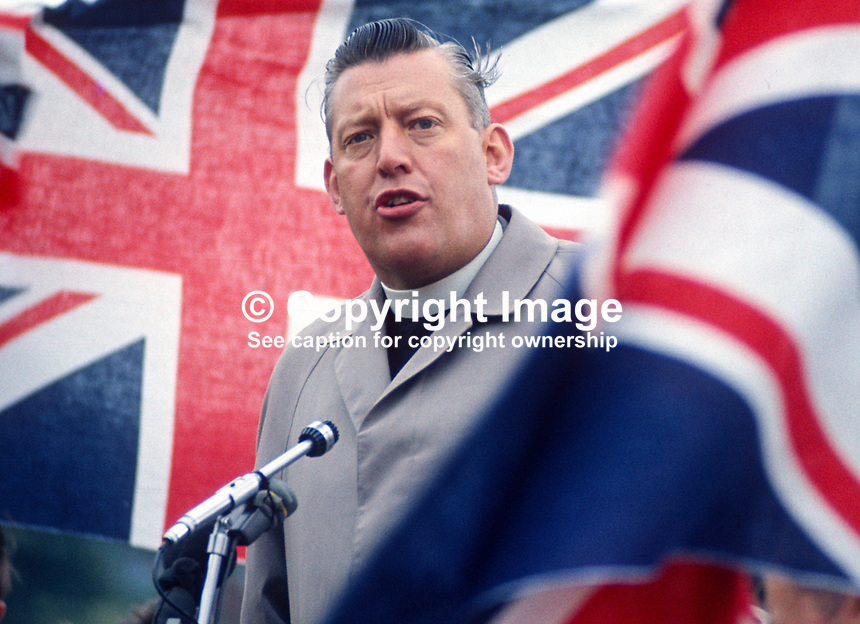 Rev Ian Paisley, MP, speaking at Independent Orange Order's annual demonstration at Knocknagoney, near Belfast. 1970071110255a, 255/70.<br />