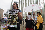 Colombian Activists take part of a protest to commemorate World Animal Day Laboratory in Medellin, Colombia. Each year millions of animals are used in laboratory experiments, infecting with disease, mutilating, putting electrodes in their brains, using concentrated solutions in the eyes and skin. The areas where these animals are used in the defense industry, cosmetics and personal hygiene.  24/04/2012. Photo by Fredy Amariles/VIEWpress.