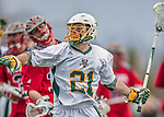 18 April 2015:  University of Vermont Catamount Attacker Michael Clarke, a Sophomore from Rumson, NJ, celebrates scoring a goal against the University of Hartford Hawks at Virtue Field in Burlington, Vermont. The Cats defeated the Hawks 14-11 in the final home game of the 2015 season. Mandatory Credit: Ed Wolfstein Photo *** RAW (NEF) Image File Available ***