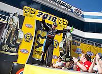 Sep 18, 2016; Concord, NC, USA; NHRA top fuel driver Clay Millican during the Carolina Nationals at zMax Dragway. Mandatory Credit: Mark J. Rebilas-USA TODAY Sports