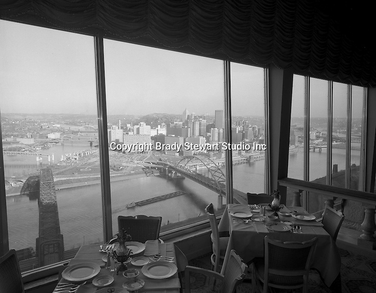 Pittsburgh PA:  View of Pittsburgh skyline from the LaMont Restaurant on Mount Washington - 1962