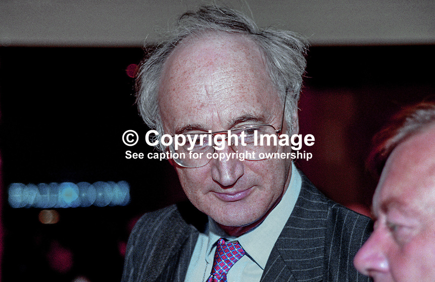 Sir George Young, MP, UK,  Conservative Party, annual conference, Blackpool, 199910127.<br /> <br /> Copyright Image from Victor Patterson, 54 Dorchester Park, <br /> Belfast, UK, BT9 6RJ<br /> <br /> t1: +44 28 9066 1296 (from Rep of Ireland 048 9066 1296)<br /> t2: +44 28 9002 2446 (from Rep of Ireland 048 9002 2446)<br /> m: +44 7802 353836<br /> <br /> e1: victorpatterson@me.com<br /> e2: victorpatterson@gmail.com<br /> <br /> www.victorpatterson.com<br /> <br /> Please see my Terms and Conditions of Use at www.victorpatterson.com. It is IMPORTANT that you familiarise yourself with them.<br /> <br /> Images used on the Internet must be visibly watermarked i.e. &copy; Victor Patterson within the body of the image and copyright metadata must not be deleted. Images used on the Internet have a size restriction of 4kbs and will be chargeable at current NUJ rates unless agreed otherwise.<br /> <br /> This image is only available for the use of the download recipient i.e. television station, newspaper, magazine, book publisher, etc, and must not be passed on to any third party. It is also downloaded on condition that each and every usage is notified within 7 days to victorpatterson@me.com<br /> <br /> The right of Victor Patterson to be identified as the author is asserted in accordance with The Copyright Designs And Patents Act (1988).