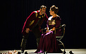 London, UK. 15.10.2014. English Touring Opera presents OTTONE, by George Frideric Handel, directed by James Conway, at the Hackney Empire. Picture shows:  Clint van der Linde (Ottone) and Rosie Aldridge (Matilda). Photograph © Jane Hobson.
