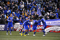 Kansas City Wizards players celebrate Ryan Smith's goal...Kansas City Wizards defeated D.C Utd 4-0 in their home opener at Community America Ballpark, Kansas City, Kansas.
