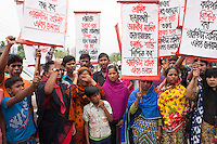 Campaigners and relatives of the victims of the Rana Plaza building collapse took part in a protest to mark the second anniversary of the disaster, Savar, near Dhaka, Bangladesh