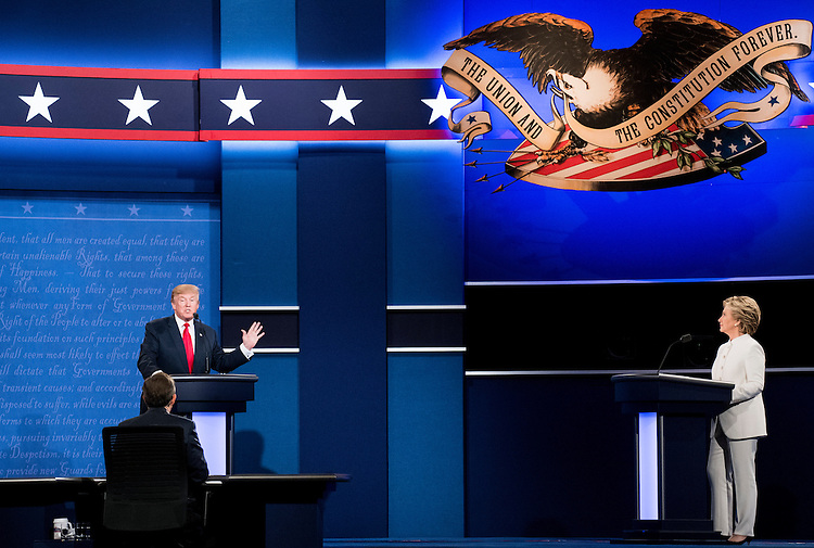 UNITED STATES - OCTOBER 19: Republican candidate Donald Trump and Democratic candidate Hillary Clinton square off at UNLV in Las Vegas on Oct. 19, 2016, for their final Presidential debate. (Photo By Bill Clark/CQ Roll Call)