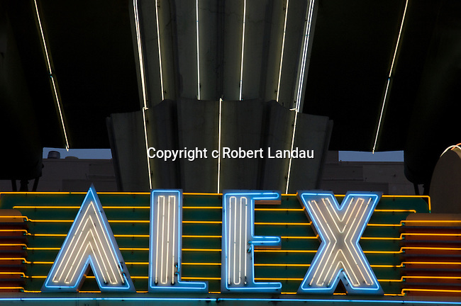 Neon sign at the art deco Alex Theater in Glendale, CA