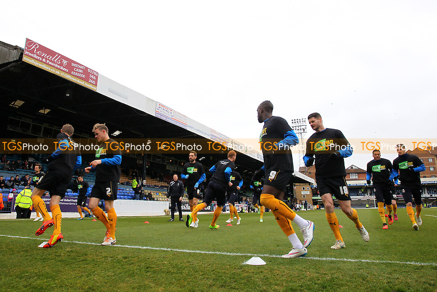 Cambridge United players warm up ahead of kick-off - Southend United vs Cambridge United - Sky Bet League Two Football at Roots Hall, Southend-on-Sea, Essex - 21/03/15 - MANDATORY CREDIT: Gavin Ellis/TGSPHOTO - Self billing applies where appropriate - contact@tgsphoto.co.uk - NO UNPAID USE