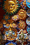 Pottery suns and  Trinacria in tourist shops and Sicilian pottery &Eacute;rice, Erice, Sicily stock photos.