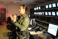 Nogales, Arizona - U.S. Customs Border Protection (CBP) Public Affairs Officer Crystal Amarillas gives journalists a tour through the Border Patrol Nogales station. National and international reporters participated in a two-day event organized by the Border Patrol. The Nogales station is one of eight in the Tucson Sector, which is the busiest on the U.S.-Mexico border for illegal immigration, drug smuggling and border deaths. It is also the largest station of the Border Patrol's 139 stations, and it covers 32 linear miles of the U.S.-Mexico border and a total area of 1,100 square miles. Photo by Eduardo Barraza © 2012