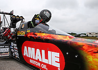 Apr 26, 2014; Baytown, TX, USA; NHRA top fuel driver Terry McMillen during qualifying for the Spring Nationals at Royal Purple Raceway. Mandatory Credit: Mark J. Rebilas-