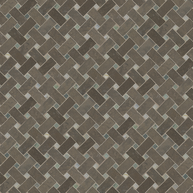 Name: Basketweave 3cm x 5cm<br /> Style: Classic<br /> Product Number: NRFBKW3X5<br /> Description: 24&quot;x 24&quot; Basketweave 3x5 in Montevideo (h), Emperador Dark (p)