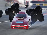 Nov 12, 2016; Pomona, CA, USA; NHRA top alcohol funny car driver Steve Gasparrelli during qualifying for the Auto Club Finals at Auto Club Raceway at Pomona. Mandatory Credit: Mark J. Rebilas-USA TODAY Sports