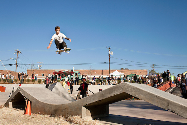 November 07, 2009. Durham, North Carolina.. After months of construction, the Durham Skatepark at Central park opened to a crowd of hundreds that came to watch the crowds try out the new park.. Thomas Hyson tried to get through the crowds to jump the large gap at the back of the park.