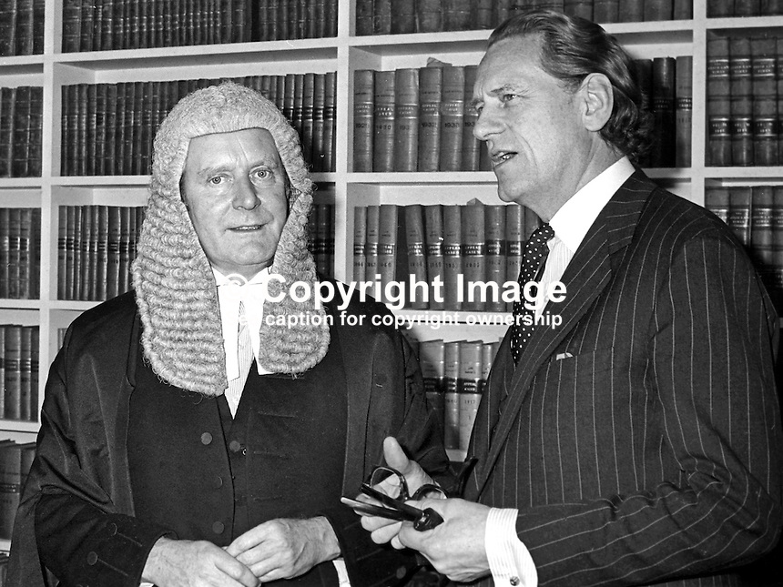 Sir Michael Havers, QC, MP, Solicitor General for England &amp; Wales, left, with Sir Peter Rawlinson, Attorney General for England &amp; Wales, during a visit to Belfast, N Ireland. Both are Conservative Party MPs. Location probably the Royal Courts of Justice. Purpose of visit - not known. 197212000799a.<br />