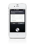 Apple iPhone 4s showing Siri, the intelligent personal assistant, helping to schedule a meeting by analyzing pronounced sentences. Isolated on white background with clipping path.