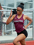 NAUGATUCK,  CT-051617JS13- Naugatuck's Renell Clarence sprinted to a first place finish in the 100m dash during their meet with  Seymour and WCA Tuesday at Naugatuck High School. <br />  Jim Shannon Republican-American