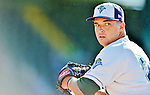 8 July 2012: Vermont Lake Monsters pitcher Tyler Vail warms up prior to starting against the State College Spikes at Centennial Field in Burlington, Vermont. The Lake Monsters rallied from a 2-0 late inning deficit, to defeat the Spikes 8-2 in NY Penn League action. Mandatory Credit: Ed Wolfstein Photo