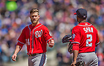 21 April 2013: Washington Nationals outfielder Bryce Harper is handed his cap and glove during a game against the New York Mets at Citi Field in Flushing, NY. The Mets shut out the visiting Nationals 2-0, taking the rubber match of their 3-game weekend series. Mandatory Credit: Ed Wolfstein Photo *** RAW (NEF) Image File Available ***