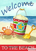 Ingrid, MODERN, MODERNO, paintings+++++,USISNL01S1A,#N#,beach,crab,sand,bucket,welcome