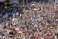Hundreds of thousands of protesters marched past Madison Square Garden and through the streets of Manhattan in what the New York Times called the cities &quot;largest political protest in decades .&quot;  <br /> <br /> The demonstration took place August 29, 2004, the day before the start of the 2004 Republican National Convention at Madison Square Garden.