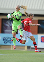 Synne Skinnes Hansen of Norway puts goalkeeper Louise Hogrell of Sweden under pressure during the UEFA Womens U19 Championships at Stebonheath park Sunday 25th August 2013. All images are the copyright of Jeff Thomas Photography-www.jaypics.photoshelter.com-07837 386244-Any use of images must be authorised by the copyright owner.