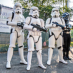 4 September 2016: As part of a Star Wars evening at the ballpark, three Imperial Storm Troopers stand to pose with fans prior to a game between the Vermont Lake Monsters and the Lowell Spinners at Centennial Field in Burlington, Vermont. The Spinners defeated the Lake Monsters 8-3 in NY Penn League action. Mandatory Credit: Ed Wolfstein Photo *** RAW (NEF) Image File Available ***