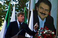 Former U.S. Congressman Patrick Kennedy deliveries a speech to Iranian people while they take part in a protest against U.N. in New York,  Sept 24, 2013, Photo by Stringer / VIEWpress.
