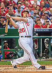 7 October 2016: Washington Nationals second baseman Daniel Murphy at bat during the NLDS Game 1 against the Los Angeles Dodgers at Nationals Park in Washington, DC. The Dodgers edged out the Nationals 4-3 to take the opening game of their best-of-five series. Mandatory Credit: Ed Wolfstein Photo *** RAW (NEF) Image File Available ***