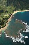 Aerial view of Tunnels Beach, a popular spot for snorkling in Kauai, Hawaii