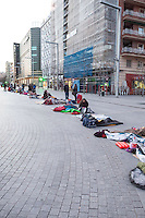 Fans waiting for Justin Bieber one day before his concert in Madrid at the Palacio de los deportes.