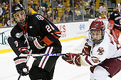 Luke Eibler (Northeastern - 20), Joe Whitney (BC - 15) - The Boston College Eagles defeated the Northeastern University Huskies 5-4 in their Hockey East Semi-Final on Friday, March 18, 2011, at TD Garden in Boston, Massachusetts.