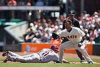 18 April 2009: Arizona Diamondbacks' Augie Ojeda makes it back to the first base against San Francisco Giants' Travis Ishikawa during the San Francisco Giants' 2-0 loss to the Arizona Diamondbacks at AT&T Park in San Francisco, CA.