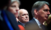 David Cameron leader's speech at Conservative Party Conference, manchester, Great Britain <br /> 7th October 2015 <br /> <br /> Iain Duncan Smith <br /> watches speech <br /> <br /> Photograph by Elliott Franks <br /> Image licensed to Elliott Franks Photography Services