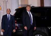 United States President-elect Donald (R) and Vice President-elect Mike Pence (L) leave the clubhouse of Trump International Golf Club, after a day of meetings, November 19, 2016 in Bedminster Township, New Jersey. <br /> Credit: Aude Guerrucci / Pool via CNP /MediaPunch