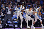 GREENVILLE, SC - MARCH 17: Kenny Williams (24), Theo Pinson (1), Justin Jackson (44) and Nate Britt (0) of the University of North Carolina react to the on-court action during the 2017 NCAA Men's Basketball Tournament held at Bon Secours Wellness Arena on March 17, 2017 in Greenville, South Carolina. (Photo by Grant Halverson/NCAA Photos via Getty Images)