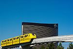 Monorail passing Wynn Hotel and Casino, NV, Las Vegas, city scene, Image nv202-17376..Copyright: Lee Foster, www.fostertravel.com, 510-549-2202,lee@fostertravel.com