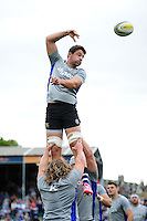 Charlie Ewels of Bath Rugby wins the ball at a lineout during the pre-match warm-up. Aviva Premiership match, between Bath Rugby and Worcester Warriors on September 17, 2016 at the Recreation Ground in Bath, England. Photo by: Patrick Khachfe / Onside Images