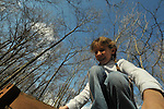 Emma Shapera and friends play in the woods