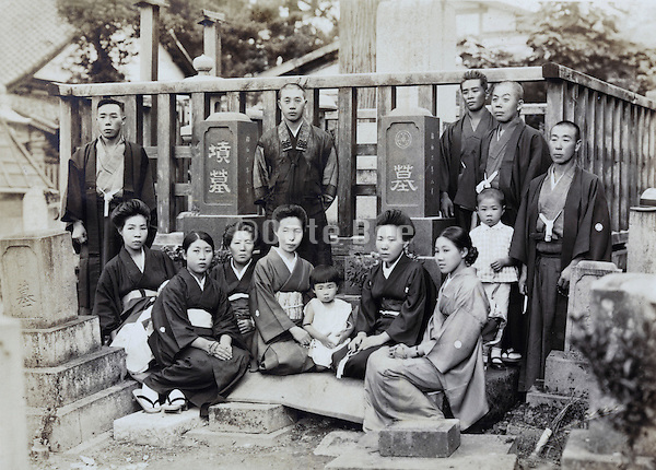 at the family grave for a memorial gathering Japan 1930s