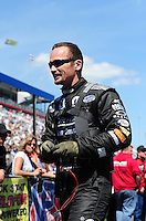 Apr. 13, 2012; Concord, NC, USA: NHRA funny car driver Jack Beckman during qualifying for the Four Wide Nationals at zMax Dragway. Mandatory Credit: Mark J. Rebilas-