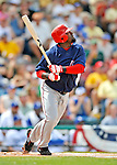 12 March 2008: Washington Nationals' infielder Cristian Guzman in action during a Spring Training game against the Los Angeles Dodgers at Holman Stadium, in Vero Beach, Florida. The Nationals defeated the Dodgers 10-4 at the historic Dodgertown ballpark. 2008 marks the final season of Spring Training at Dodgertown for the Dodgers, as the team will move to new training facilities in Arizona starting in 2009 after 60 years in Florida...Mandatory Photo Credit: Ed Wolfstein Photo