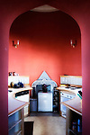 """Haldon Belvedere, Exeter, Devon..Photo shows the kitchen area of the third floor of Haldon Belvedere. Built in 1788 by celebrated English cleric and politician Sir Robert Palk, the striking triangular structure, whose three points are marked by identical turret-topped towers, was visited by King George III, albeit late in his reign when he was suffering from an incurable mental illness. The construction of a local carriageway, simply called """"King's Road,"""" predates that visit, indicating that Palk probably had such a brush with royalty in mind. The building is today used as accommodation and wedding venue."""