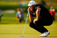 Shane Lowry lines up his putt on the 11th green during the 2016 U.S. Open in Oakmont, Pennsylvania on June 18, 2016. (Photo by Jared Wickerham / DKPS)