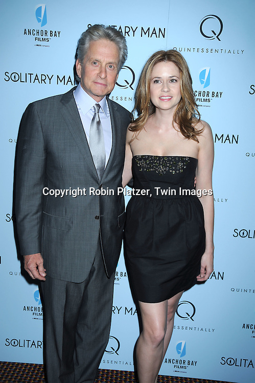 """Michael Douglas  and Jenna Fischer attending  The New York Premiere of """"Solitary Man"""" starring Michael Douglas, Jenna Fischer, Imogen Poots at Cinema 2 on May 11, 2010 in New York City."""