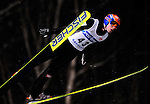 Anders Jacobsen of Norway soars through the air during the FIS World Cup Ski Jumping in Sapporo, northern Japan in February, 2008.