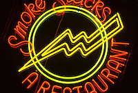 NEON SIGNS ARE POSITIVE<br /> COLUMN DISCHARGE LAMPS<br /> Restaurant<br /> From Mixing Neon &amp; Other Gases<br /> Neon gas produces a red color. Almost every color other than red is produced using argon, mercury &amp; phosphor coatings. All neon tubes are positive-column discharge lamps, regardless of filling.