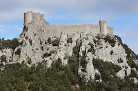 "Puilaurens Castle, Chateau de Puilaurens, Cathar castle, Lapradelle-Puilaurens, Boulzane Valley, Aude, France.  Also called Puylaurens, or lo Castel de Pueg-Laurenc in Occitan, this 12th century ruined castle had belonged to the Abbey of Saint-Michel de Cuxa before being acquired by the Queen of Aragon in 1162. It changed hands many times during the Albigensian Crusade. It is one of the ""Five Sons of Carcassonne"" or ""cinq fils de Carcassonne"" and is a listed monument historique. Picture by Manuel Cohen"