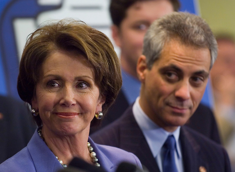 "01/18/07--House Speaker Nancy Pelosi, D-Calif., DCCC Chairman Rahm Emanuel, D-Ill., and other House Democrats during a news conference on the completion of the first 100 legislative hours of the 110th Congress. They touted their ""100 Hours for a New Direction,"" citing the passage of an ethics package; fiscal legislation; implementation of 9/11 Commission recommendations; an increase in the minimum wage; legislation allowing the expansion of stem cell research; negotiation for prescription drugs; lower interest rates on student loans; and energy legislation. Congressional Quarterly Photo by Scott J. Ferrell"